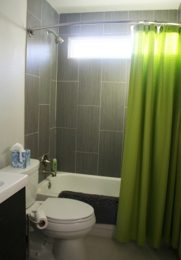 We updated the shower from plain white tiles to large modern tile from floor to ceiling