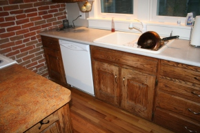 Before: Dated white appliances